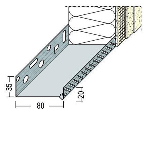 90608 Цокълен профил - алуминиев 80 мм /2500 мм